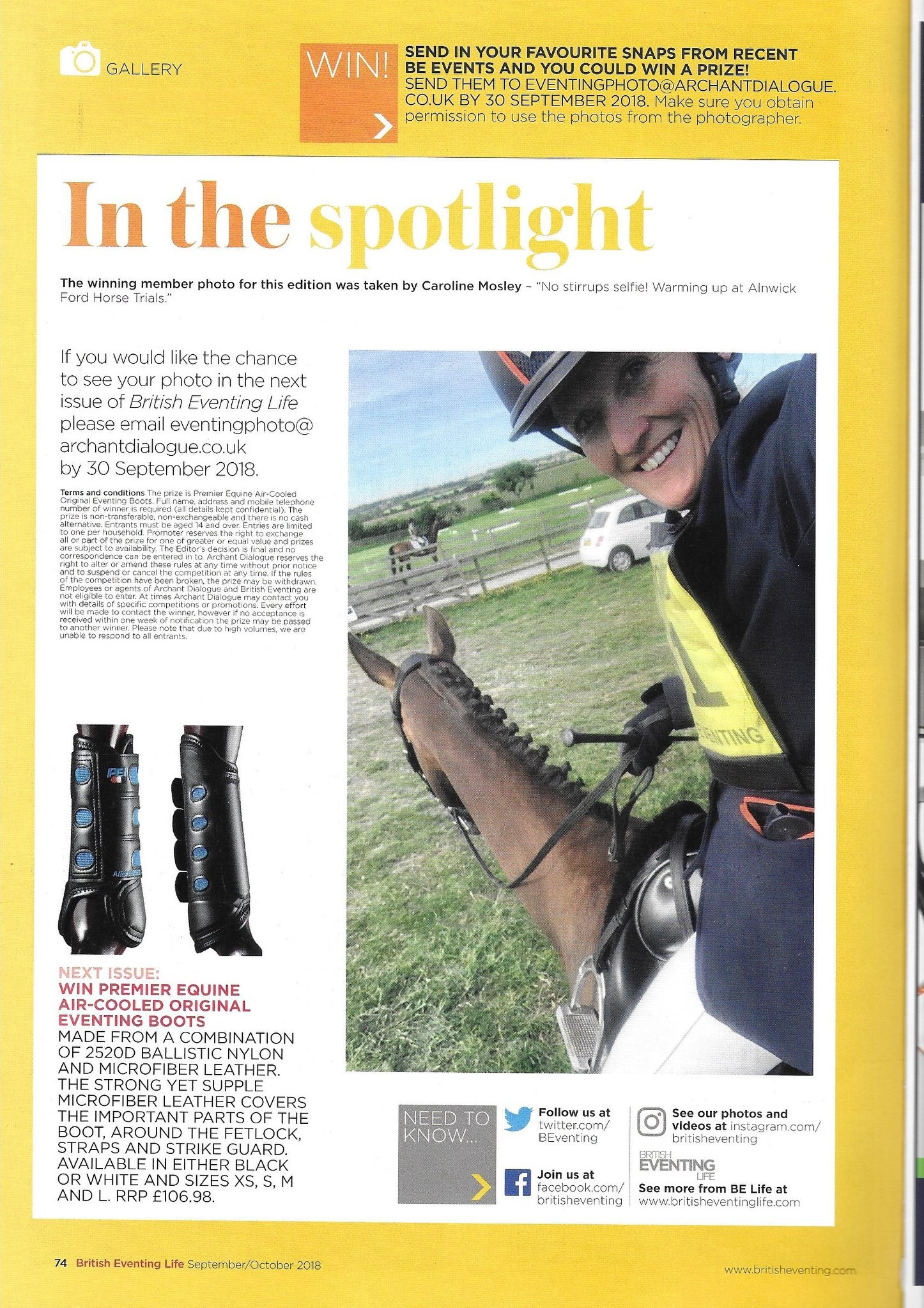 Caroline Mosley in British Eventing Magazine