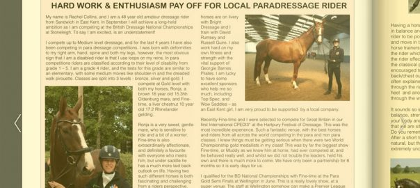 Pegasus Magazine write up about Rachel Colins feature image