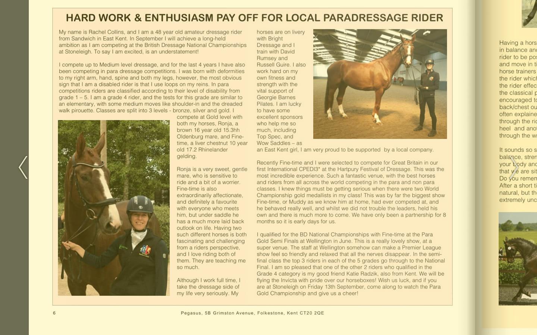 Pegasus Magazine write up about Rachel Colins